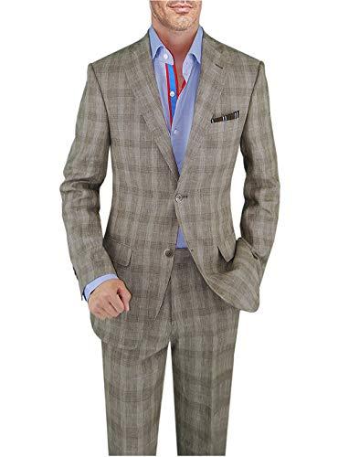 DTI BB Signature Italian Men's Suit Linen Two Button Jacket 2 Piece Modern Fit (44 Long US / 54L EU/W 38