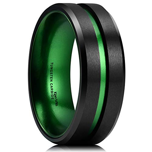 - King Will Duo 8mm Mens Green Plated Black Tungsten Carbide Wedding Ring Grooved Center Matte Finish (6)