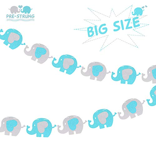 Elephant Banner Baby Shower Garland for Kid Nursery Boy Happy Birthday Party Supplies Glitter Decorations 5''Inch Elephant (Blue, Silver) -