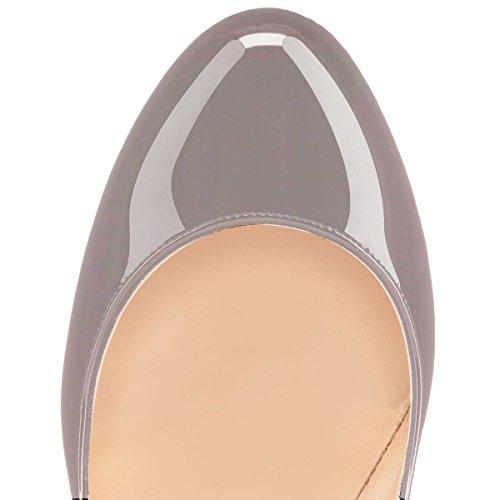 Tacco High Heels col Classico Chiuse Grigio 12CM Davanti donna Scarpe Soireelady da Scarpe 1qfPaRa