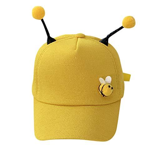 iCJJL Baby Boy Girl Infant Cotton Solid Adjustable Bee Baseball Caps Sunhat for Unisex-Baby Yellow ()