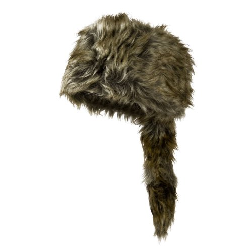 Man's Faux Fur Raccoon Hat - Natural Grey L (Racoon Tail)