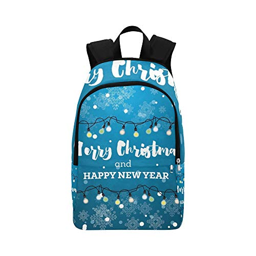 ENEVOTX Christmas Card Neon Light Bulbs Snowflakes Casual Daypack Travel Bag College School Backpack for Mens and -