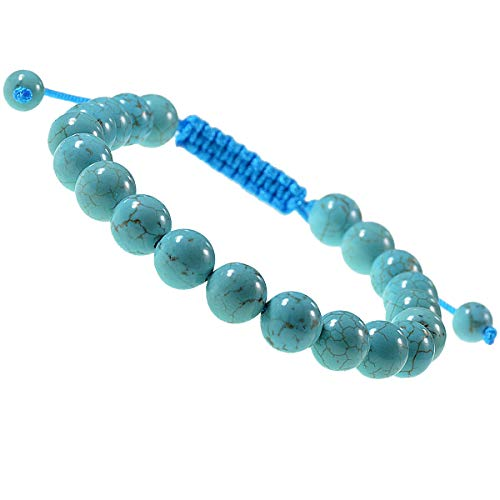 LPBeads Natural Reiki Healing Energy Gemstone Therapy Beads Macrame Adjustable Braided Link 8mm Unisex Bracelet (Blue Turquoise) (Turquoise Link Bracelet Set)