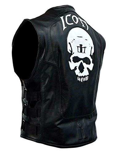 Icon Mens Regulator - RF Leathers New Men's Skull Regulator Icon Biker`s Black Color Black Leather Vest (2XLarge Jacket Chest 52