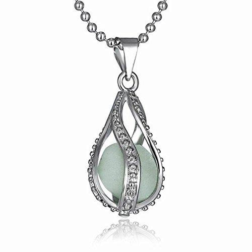 FM FM42 Silver-tone Glow in the Dark Openwork Teardrop Shaped Pendant Charm Necklace ()