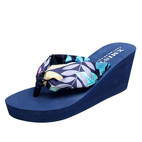 Matasleno 2019 Lady Bohemian flip Flops Thick-Soled Wedge Sandals Open Toe Ankle Strap Espadrille Sandal Blue