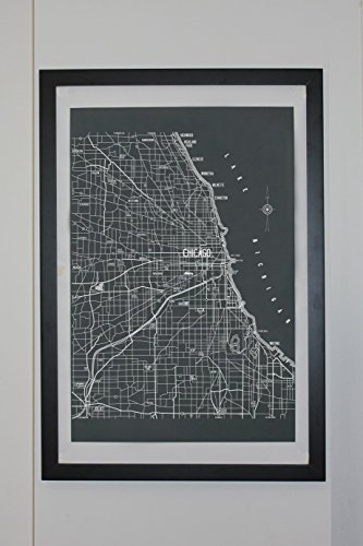 Chicago Vintage Style Map Canvas 24 x 36 Poster