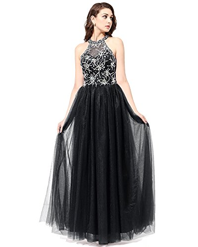 Bridesmay Long Tulle Prom Dress Halter Evening Gown Beaded Party Dress Black Size 8 Black Beaded Halter