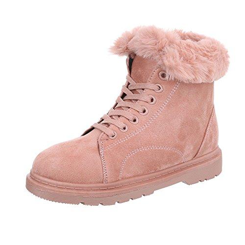 Ital-Design Schnürstiefeletten Damenschuhe Klassischer Stiefel Blockabsatz Warm Gefütterte Schnürsenkel Stiefeletten Altrosa