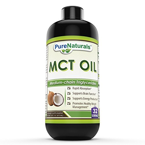 Pure Naturals Mct Oil - Natural Vegan Oil Supplement – 16 Oz (473 ml) Bottle -Pure Medium Chain Triglycerides, Easily to Digest - Supports Cardiovascular Health, Healthy Weight Management