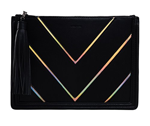 (BG-707-C06 Clutch Purse Iridescent Stripe Hologram Evening Bag - Black (Chevron))