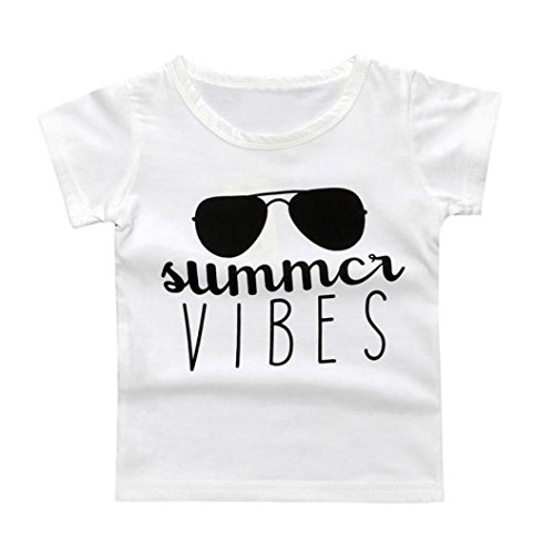 FORESTIME_baby clothes boy FORESTIME Summer Infant Under Subcoating Sunglasses Letter Vibes O Neck T-Shirt (White, 6-12 - Sunglasses 8 Letters