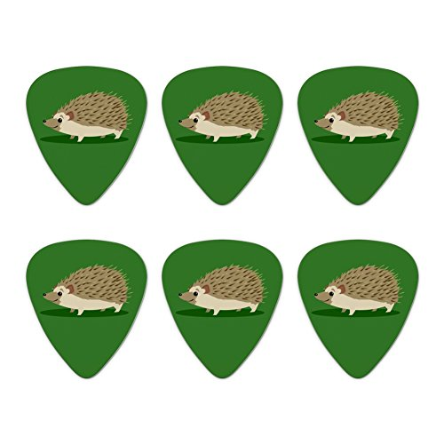 Hedgehog on Green Novelty Guitar Picks Medium Gauge - Set of 6 ()