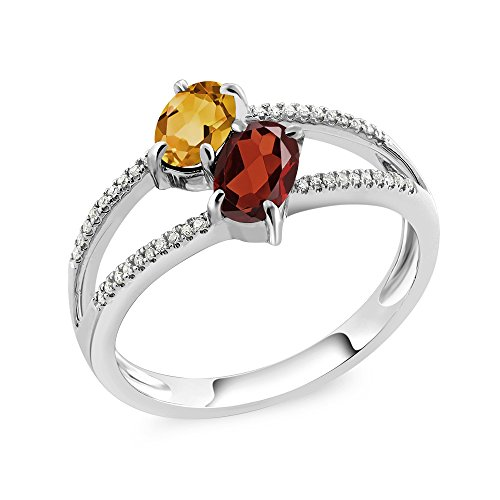 Gem Stone King 10K White Gold 1.18 Ct Oval Yellow Citrine Red Garnet Two Stone Ring (Size 7)