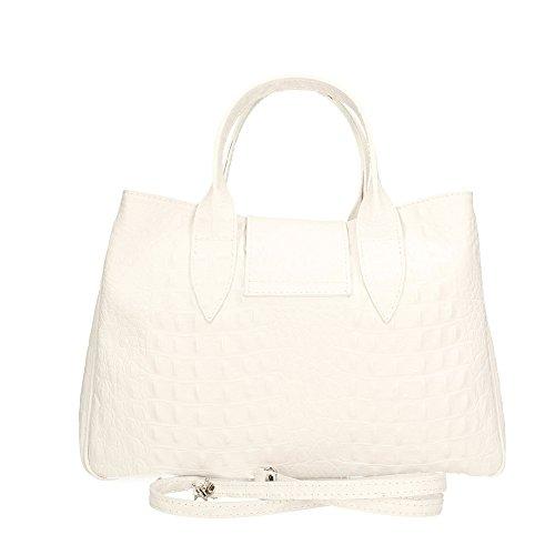 Blanco Cm In Aren Auténtico Italy Mujer En Cuero Made Bolso 35x25x15 De UfqUPF