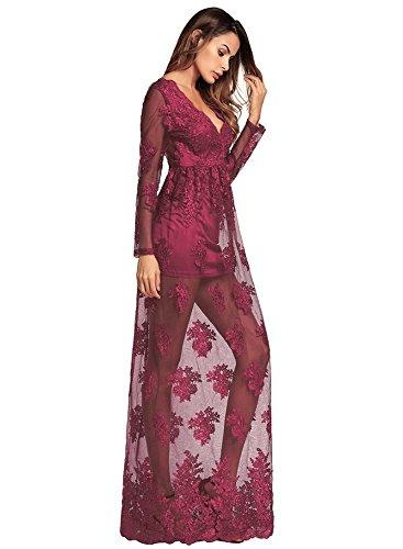 aushöhlen Party Boho Red MXNET Sexy Maxi Langes Ausschnitt Spitze für Kleid Mesh Elegante Blumenstickerei Kleider Kleid Frauen Tiefem V Sommer Party vqdpA