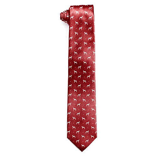 Great Dane Tie - Kings and Wolves Men's 100% Silk Neckties Jacquard Great Dane Tie (Red)
