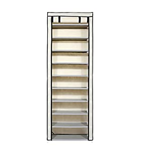 """Home-Like 10-Tier Shoe Rack with Dustproof Cover 30 Pair Shoe Organizer Shoe Rack Tower Zippered Storage Shoe Cabinet in Black Ideal for Hallway Corridor L24.02""""xW12.2""""xH67.72"""""""