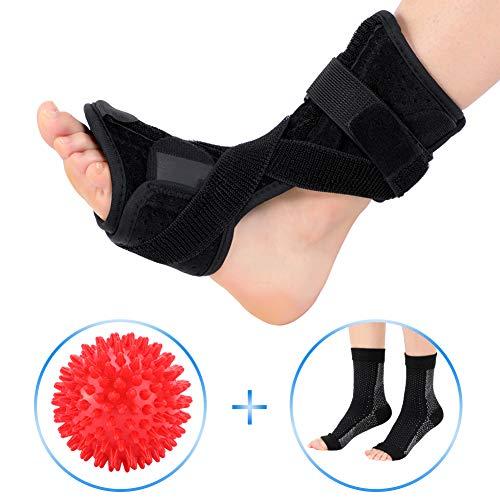 Plantar Fasciitis Support, Orthotics Drop Foot Brace Kit with Compression Foot Socks Massage Ball, Night Splint for Plantar Fasciitis, Tendon Stretch, Achilles, Heel Spur, Fits Left Right Foot