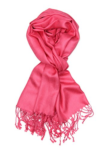 Achillea Large Soft Silky Pashmina Shawl Wrap Scarf in Solid Colors (Coral - Scarf Ladies Tie