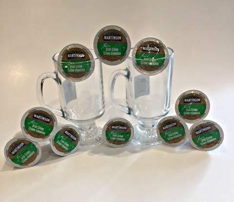 Pair of Irish Coffee Cups and 10 Irish Creme K-Cups Bundle by Rose Goods