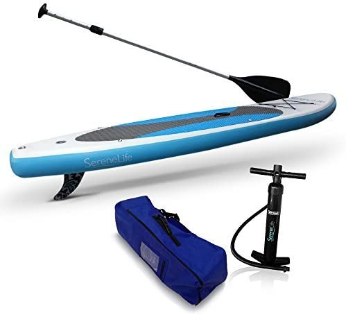 SereneLife Inflatable Stand Up Paddle Board (6 Inches Thick) Universal SUP Wide Stance w/ Bottom Fin for Paddling and Surf Control   Non-Slip Deck   Youth and Adult (Marine 青) [並行輸入品]