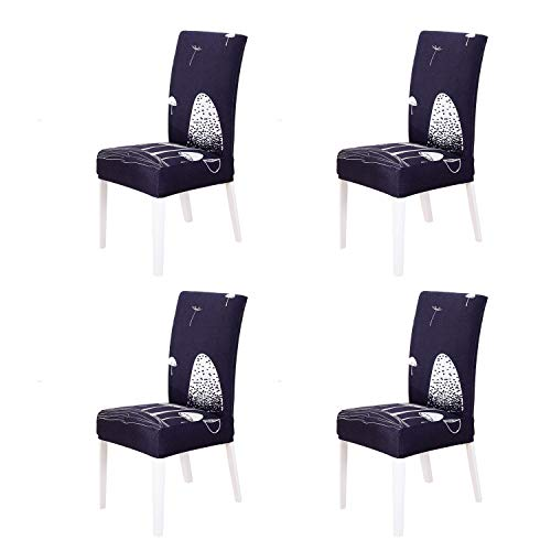SoulFeel Set of 4 Stretch Chair Covers for Dining Room, Removable Fitted Seat Slipcovers Protector -