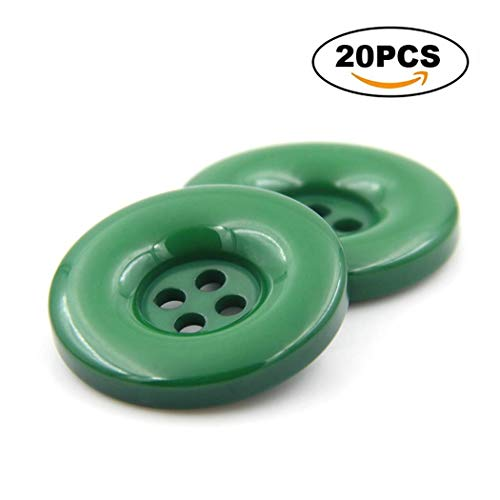 - LimiFas 10-30Pcs of Resin Buttons 0.6''-1.5''Color Round 4 Holes Buttons-Coats Suits Shirts Jeans Trousers Buttons Clothing Accessories for DIY Sewing Craft 8-Green 25mm-20Pcs