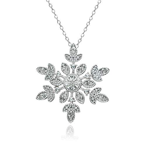 Sterling Silver Polished Snowflake Diamond Accent Pendant Necklace, JK-I3