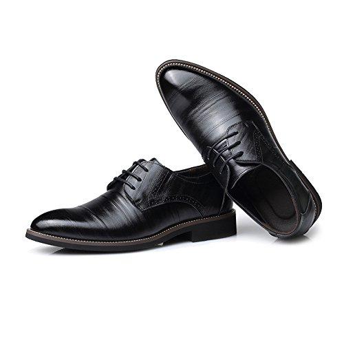PU Oxfords Klassische Top Lederschuhe Lined Low Formal Business Schnür Herren Schwarz Müßiggänger Lederschuhe 4wxp6qU5Z