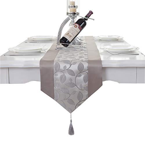 Elegant Handmade Grey Leaf Damask Tassel Wedding Party Bed Table Runner Cloth 80 inch -