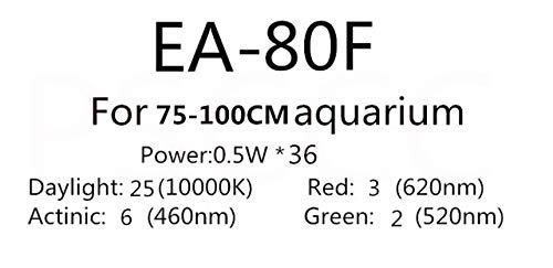 EA-80F Pukido Full Spectrum LED Aquarium Aquarium LED Light Fixture Freshwater Marine Tropical Fish Tank LED Lamp Lighting AC110-240V (color  EA-80F)