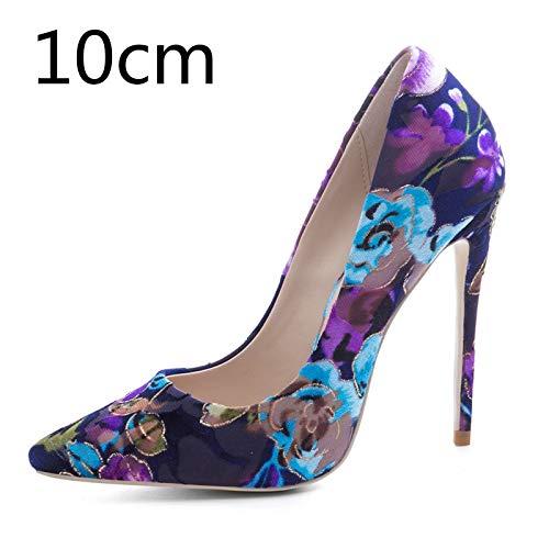 Puntiagudo Flock Zapatos Color Flor Bombas Thin Heels 10cm 45 Hoesczs Toe High Tamaño Heel Más Mujer De Nueva Casual Fiesta 33 Print El EqzxwS8w