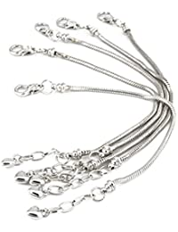 5pcs Silver Plated Snake Chain Charm Bracelet Starter with Classic Bead Lobster Clasp Fits All Chamilia Troll Biagi Beads