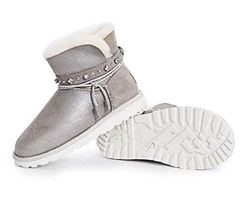 El calor casual engrosa la lana de oveja un algodón zapatos Lace-up zapatos de cuero tacón plano ronda top tobillo botas sand color