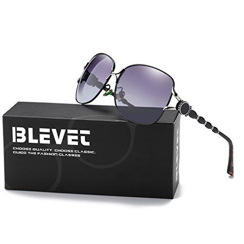 BLEVET Classic Retro Polarized Oversized Aviator Sunglasses Women Gradient Lens Driving Sun Glasses (Black Frame, - Black Gradient Aviators