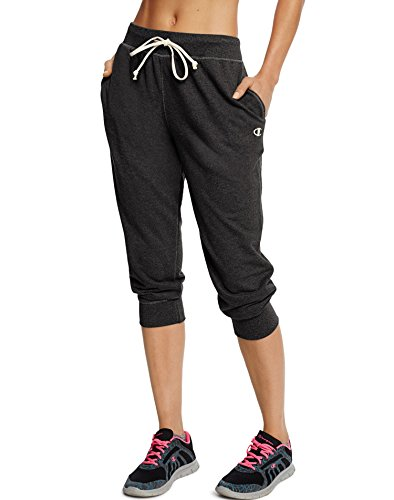 (Champion Women's French Terry Jogger Capri, Black, L)