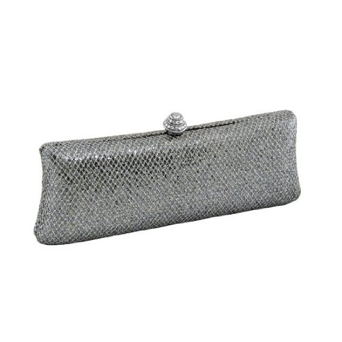 J. Furmani HardCase Shinny Clutch (Metallic Pewter), Bags Central