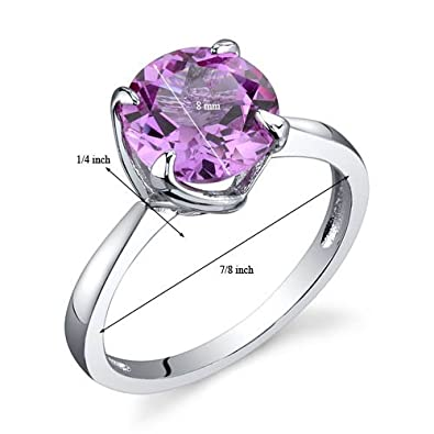 Created Pink Sapphire Ring Sterling Silver Rhodium Nickel Finish Round Shape 2.50 Carats Sizes 5 to 9