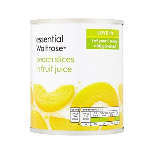 Peach Slices in Fruit Juice essential Waitrose 205g - Pack of 6