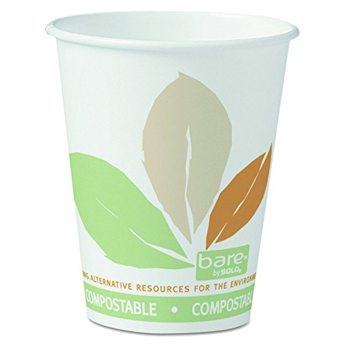 SOLO Cup Company 378PLABB Bare by Solo Eco-Forward PLA Paper Hot Cups, 8 oz, Leaf Design, 50 Per Bag (Case of 20 (Pla Hot Cups)