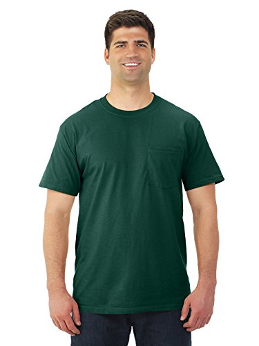 Cotton Adult Pocket T-shirt - Fruit of the Loom Adult Heavy Cotton Short-Sleeve T-Shirt with Pocket - Forest Green, XL