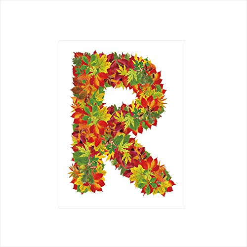 - Decorative Privacy Window Film/Floral R Made with Maple Leaves Bouquet Essence Autumn Inspirations Initials Theme Decorative/No-Glue Self Static Cling for Home Bedroom Bathroom Kitchen Office Decor Mu