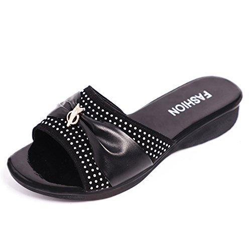 Casual Wear Donna Font Quarantuno Piatta Moda Pantofole Pantofole Black Estate Sandali YqE0UwC