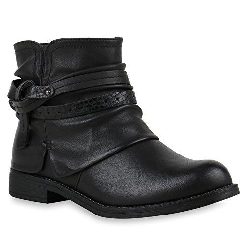 Knoten mit Nieten Stiefeletten Schnallen Stiefelparadies Flandell Boots Damen Schwarz Biker Blockabsatz HI01vqx