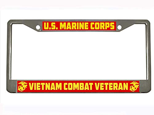 U.S. Marine Corps Vietnam Combat Veteran Military Stainless Steel Chrome License Plate Frame Car Tag Holder ... ()