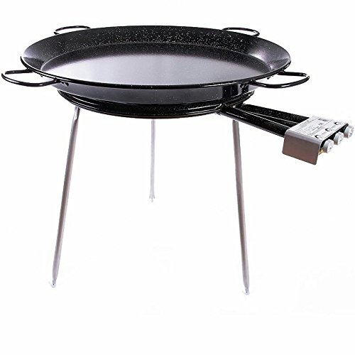 Paella Pan Enamelled + Paella Gas Burner and Stand Set - Complete Paella Kit for up to 40 Servings (Nonstick) by Vaello by Castevia Imports
