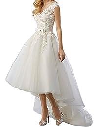 Womens Elegant Vintage Tea Length Lace Wedding Dress For Bride