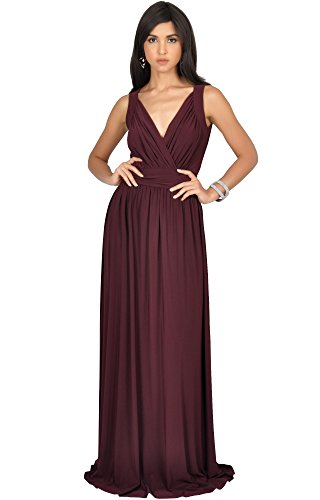 KOH KOH Plus Size Womens Long Sleeveless Flowy Bridesmaids Cocktail Party Evening Formal Sexy Summer Wedding Guest Ball Prom Gown Gowns Maxi Dress Dresses, Maroon Wine Red 2X 18-20 (3) ()